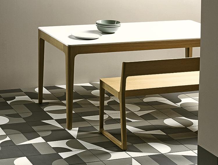 Дизайн раскладок керамогранита Puzzle, Mutina изплитки ссимметричными углами