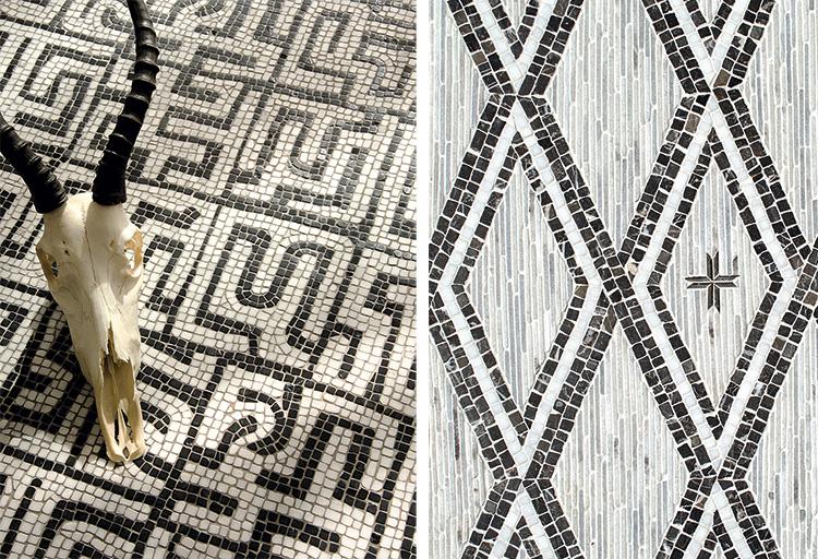 Слева: дизайн Kuba, разработанный Сарой Болдуин измрамора Calacatta Tia иNero Marquina. Справа: дизайн Rimini, разработанный Полем Шацем измрамора Afyon White, Saint Laurent иCashmere